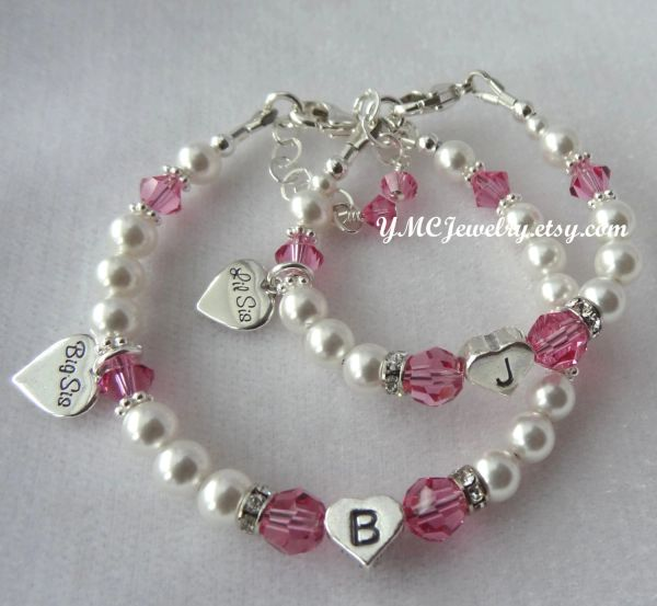 Big Sister/Little Sister Initial Charms Bracelet, Heart Big Lil Sis Charm Bracelet, Big Sis Bracelet, Lil Sis Bracelet, Sister Bracelet