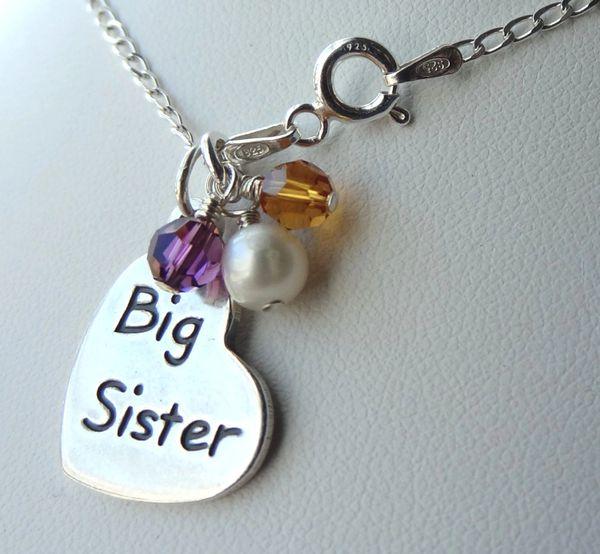 Big Sister Birthstone Child Girl Necklace, Big Sis Necklace, Sister Necklace