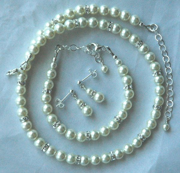 Elegant Children Swarovski Crystal Pearl and Rondelle Necklace/Bracelet SET, Flower Girl Jewelry, First Communion Set, Confirmation