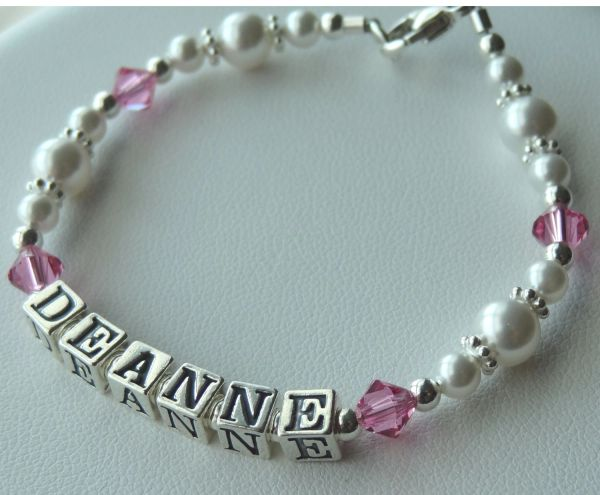 Personalized Sterling Silver Swarovski Crystal Bacelet, Name Children Bracelet, Birthstone, Baptism, First Communion