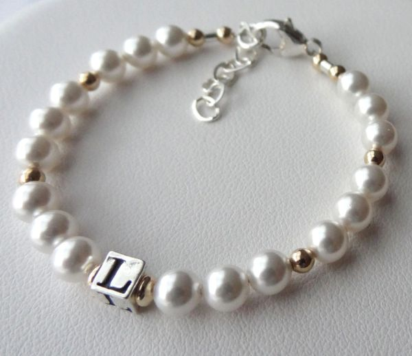 Silver and Gold Initial Baptism Bracelet, Flower Girls Bracelet, Baptism, Christening, First Communion, Confirmation, Baby Bracelet