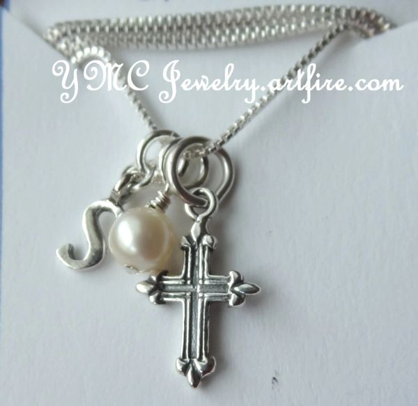 Confirmation - Sterling Silver Cross Pendant, Initial Letter, Baby Pink, Lavander, White Freshwater Pearl, or Birthstone Necklace,