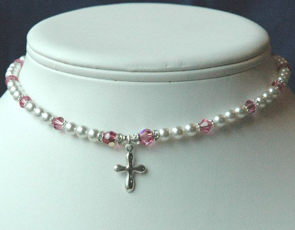 Swarovski Crystal Pearls Custom Children Silver Necklace