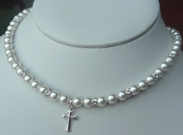 Elegant Children Swarovski Crystal Pearl and Rondelle With Cross Necklace, First Communion Necklace, Confirmation, Flower Girls, Baptism