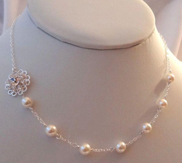 Swarovski Crystal Rhinestone Flower Pearl Necklace, Junior Bridesmaid Necklace, Flower Girl Necklace, Bridesmaid Necklace, Bride Necklace