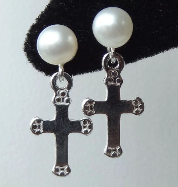 Sterling Silver Cross and Freshwater Pearl Stud Post Earrings- Fist Communion Earrings, Confirmation Earrings, Cross Earrings