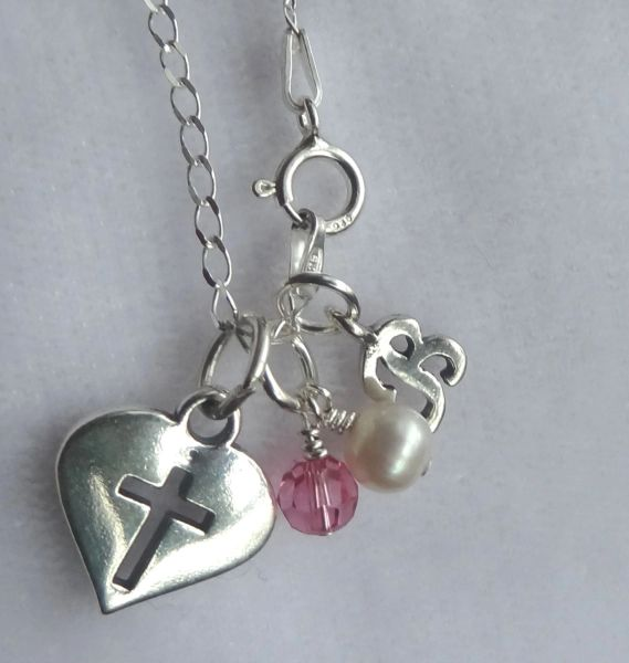 Sterling Silver Heart Cross Pendant, Initial Letter, White Freshwater Pearl, Birthstone Necklace, First Communion