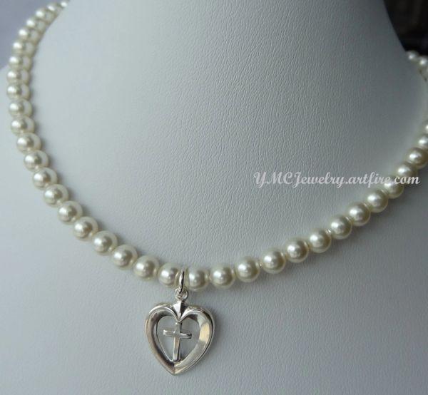 First Communion Swarovski Crystal Pearl and Heart Cross Necklace, First Communion Necklace, Confirmation, Flower Girls, Baptism