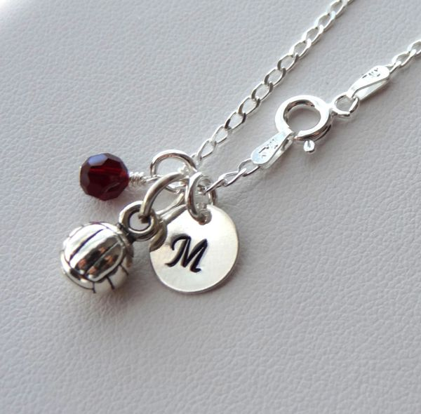 Sterling Silver Personalized Volleyball Necklace, Hand Stamped Initial Letter, Birthstone Necklace, Team Sport Necklace
