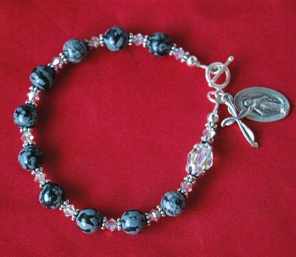 Snowflakes Obsidian Rosary Bracelet, First Communion Bracelet, Confirmation, Godmother Bracelet, Chaplet Rosary Bracelet, Chaplet Bracelet