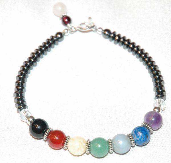 Sterling Silver Gemstone Chakra Bracelet, Seven Chakra Bracelet