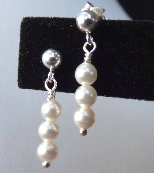 Tiny Swarovski Crystal Pearl Earrings, Junior Bridesmaids Earrings, Flower Girls earrings
