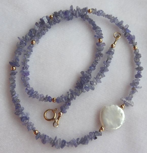 Gold Filled Tanzanite and Coin Freshawater Pearl Necklace, Gemstone Necklace