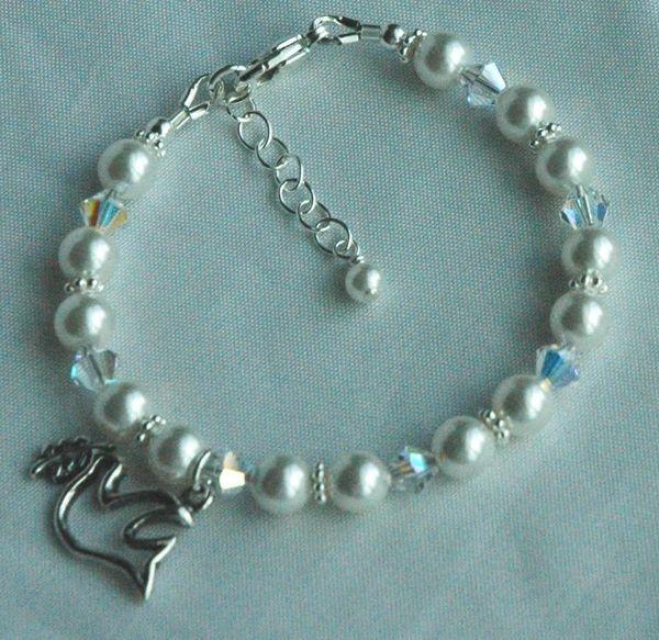 Paloma de la Paz- Swarovski Crystal Pearl Sterling Silver Bracelet, Confirmation Bracelet, Fist Communion Bracelet