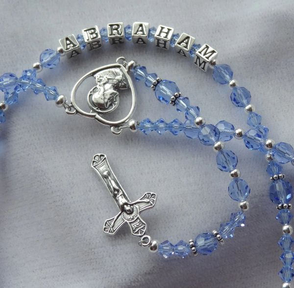 Sterling Silver Blue Crystal Personalized Rosary, First Communion Rosary, Confirmation Rosary, Baby Boy Rosary, Blue Rosary, Baptism
