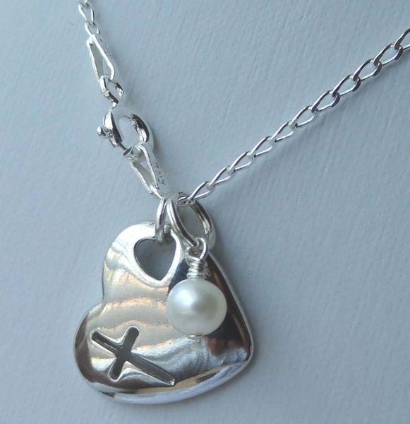Sterling Silver Cross, Heart Pendant Baby Children Girl Necklaces, Birthstone Necklaces, Baptism, First Communion, Confirmation