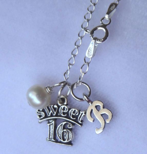 Sweet 16 Birthstone Initial Necklaces, Initial Monogrammed Necklace, Birthstone Necklace, Sweet Sixteen Necklace