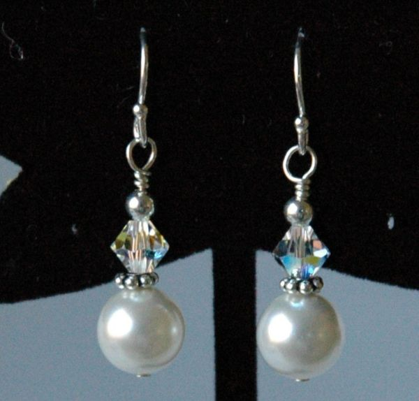 Swarovski Crystal Pearl Earrings, Bridesmaids Gift Set Jewelry Earrings, Bride Wedding Earrings
