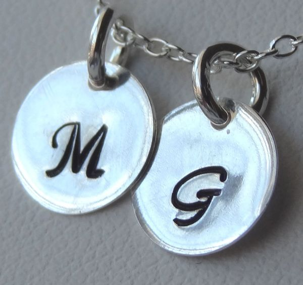 Hand Stamped Sterling Silver Disc Charm, Custom engraved Initial and Number charm, Monogrammed Initial Charm, Monogram Personalized Charm
