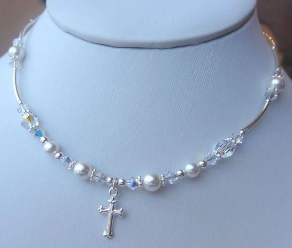 Sterling Silver First Communion Swarovski Crystal Pearls Necklace, Flower Girls, Confirmation, Baptism