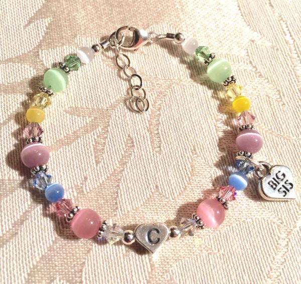 SET TWO Big Sister/Little Sister Initial Heart Children Bracelet,Heart Big Sis Lil Sis Charm Bracelet, Sisters Bracelet SET, Big Lil Sister