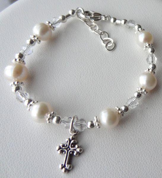 Baptism Cross Freshwater Pearl Children Bracelet, Christening Bracelet, First Communion Bracelet, Confirmation Bracelet