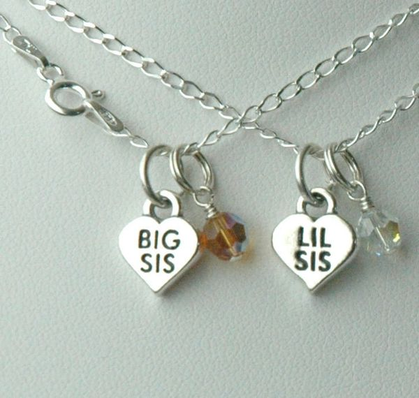 Lil Sis or Big Sis Birthstone Child Girl Necklace, One Necklace