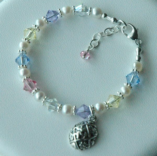 Sterling Silver Easter Egg Charm, Multi Colour Swarovski Crystal and Freshwater Pearls Children Bracelet, Easter Bracelet