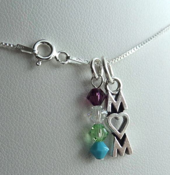 Sterling Silver Mom Charm and Birthstone Dangle Necklace, Family Necklace