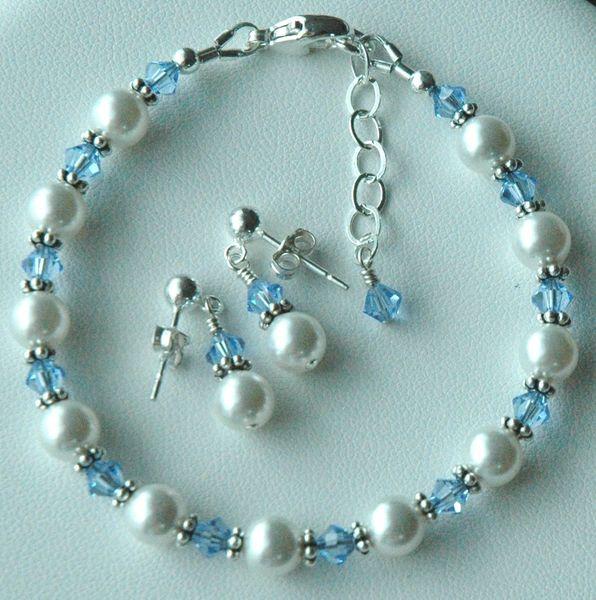 Sterling Silver Swarovski Crystal Pearl Birthstone Bracelet, Flower Girls Bracelet, Junior Bridesmaids