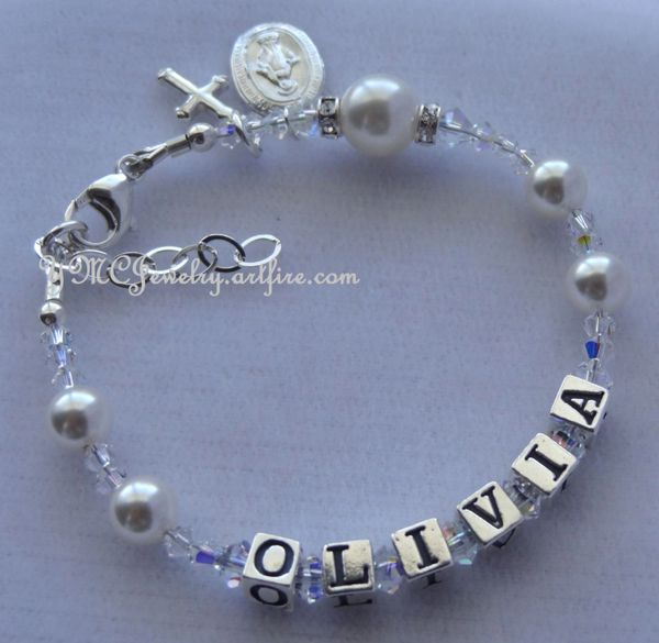 Name Rosary Bracelet, Pearl Rosary Bracelet, Baptism Bracelet, Christening Bracelet, First Communion Rosary Bracelet,