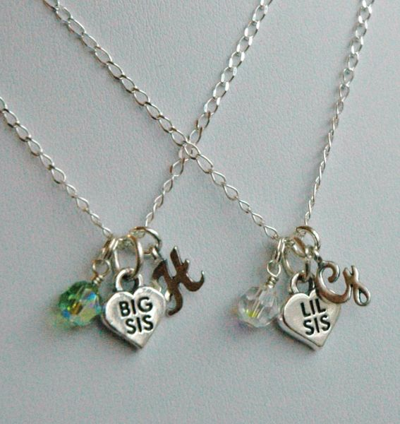 Sterling Silver Big Sister or Lil Sister Birthstone Initial Children Girl Necklaces, Monogrammed Necklace, Birthstone, Big Sister Necklace