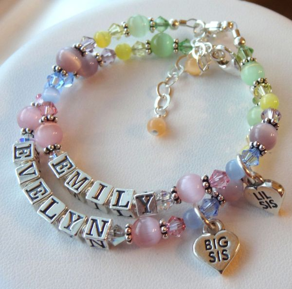 TWO Big Sister/Little Sister Name Children Bracelet,Heart Big Sis Lil Sis Charm Bracelet, Sisters Bracelet SET, Name Bracelet