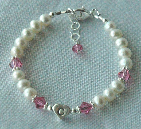 Sterling Silver Initial Heart Freshwater Pearl with Swarovski Crystal Children Bracelet, Birthstone Bracelet