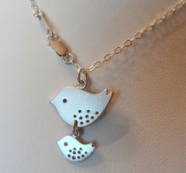 Mommy and Baby Bird Necklace, Bird Necklace, Family Necklace, Mother Jewelry, Birthday, Babyshower gift