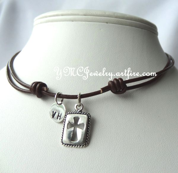 Sterling Silver Leather Initial Rectangle Cross Boy Kids Necklace, Boys Necklace, First Communion, Confirmation, Baptism, Christering Kids