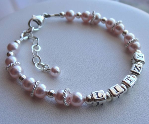 Sterling Silver Name Pearl Bracelet, Personalized Birthstone Name Bracelet, Pink Bracelet, Mother Bracelet