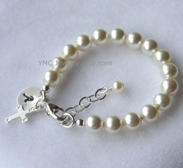 Child Pearl Bracelet, Pearl Baby Girl Children Bracelet, Personalized Baby Pearl Cross Bracelet, Initial Bracelet, Cross Bracelet, Baptism