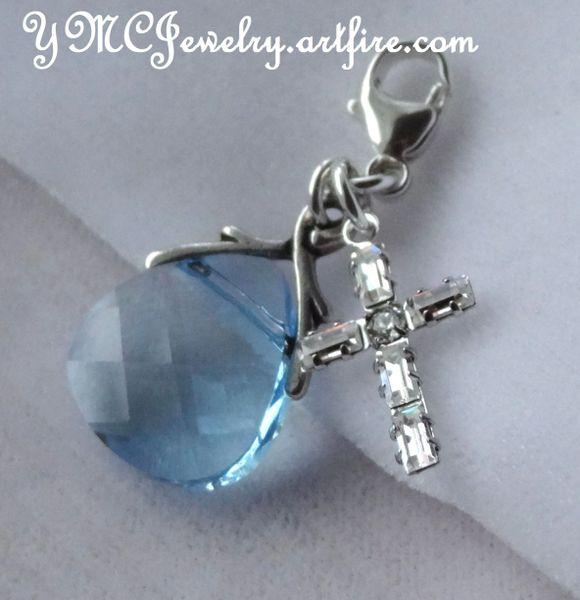 Something Blue Charm, Something Blue Bouquet Charm, Bouquet Charm, Swarovski Crystal Blue Cross Charm, Something Blue Wedding Bouquet Charm