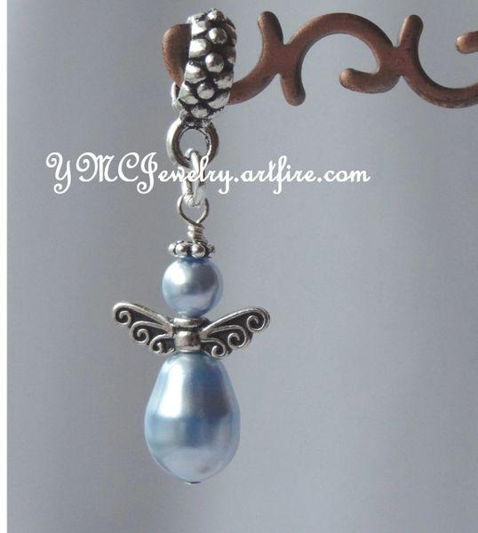 Something Blue Charm, Something Blue Bouquet Charm, Swarovski Crystal Blue Angel European Charm, Something Blue Wedding Bouquet Charm