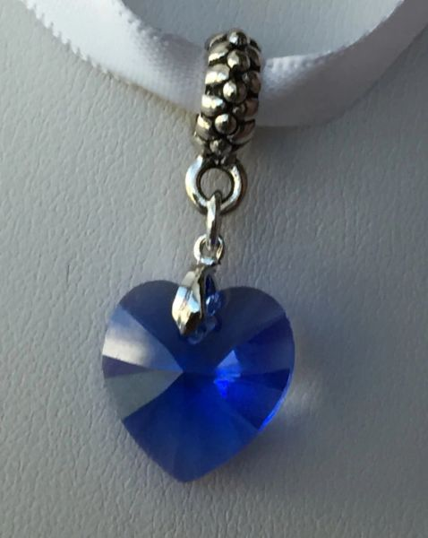 Something Blue Charm, Something Blue Bouquet Charm, Swarovski Crystal Blue Heart European Charm, Something Blue Wedding Bouquet Charm, Garter Charm