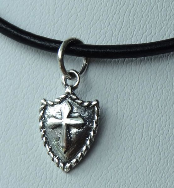 Leather and Sterling Silver Shield Cross Boy Necklace Choker, First Communion Boy Gift, Confirmation Boy Necklace, Baptism Boy Necklace