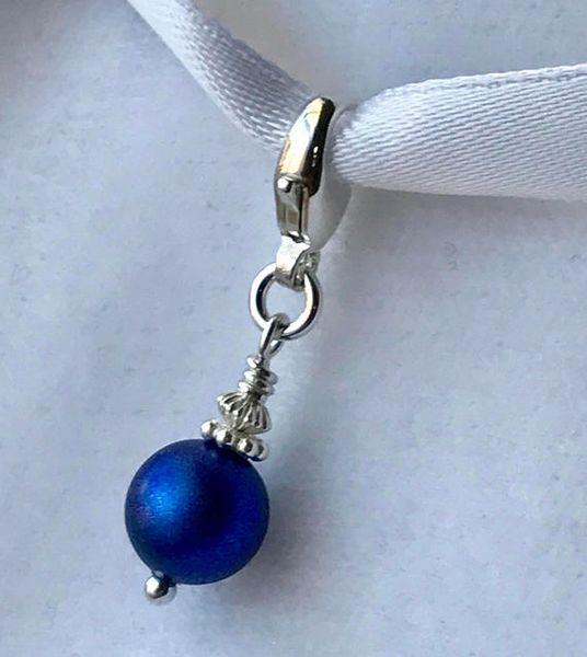 Something Blue Charm, Something Blue Bouquet Charm, Navy Blue European Charm,Something Blue Wedding Bouquet Charm,Silver Pearl Bouquet Charm, Garter Charm