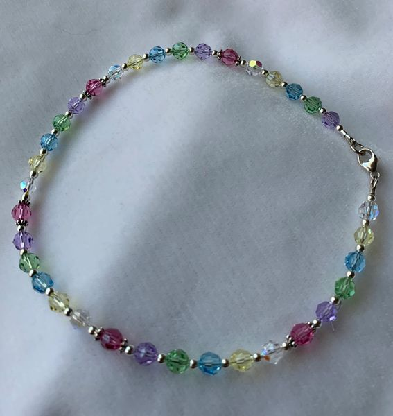 Flower Girl Necklace, Baby First Pearls Necklace, Multicolor Crystal Necklace