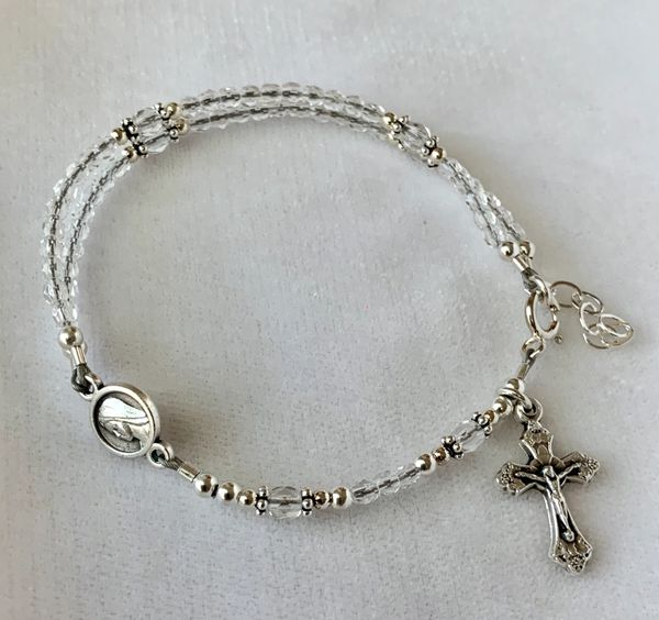 Crystal Rosary Bracelet, Five Decade Rosary Bracelet,First Communion Rosary Bracelet,Full Rosary Bracelet, Confirmation Bracelet, RCIA Gift, Godmother Bracelet