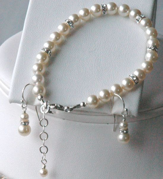 Elegant Swarovski Crystal Pearl and Rondelle Bracelet/Earrings, Bride SET, Bride Bracelet, Bride Earrings, Wedding Jewelry