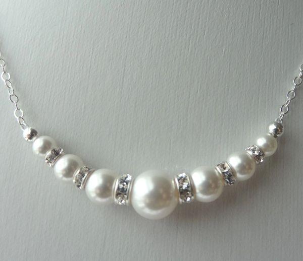 Swarovski Crystal Rhinestone Pearl Round Necklace, Bridesmaids Gift Necklace, Flower Girl Necklace, Junior Bridesmaids