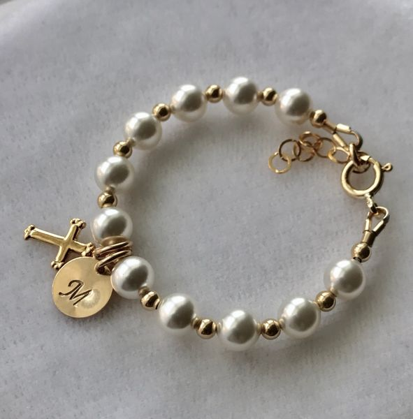 Gold Initial Cross Pearl Baptism Bracelet, Flower Girls Bracelet, Pearl Baptism Bracelet, First Communion, Confirmation, Baby Pearl Bracelet