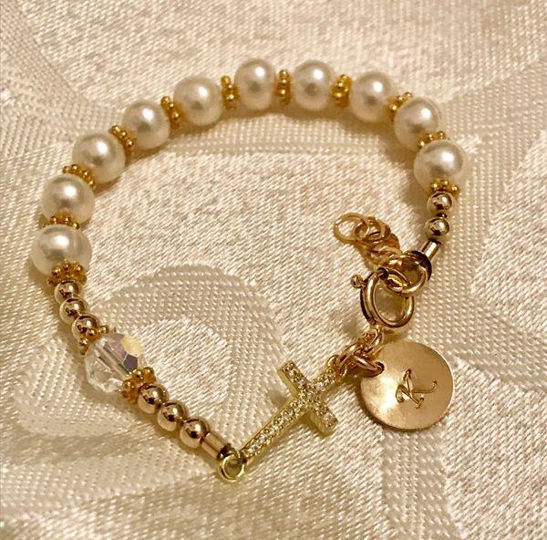 Gold Freshwater Pearl Cubic Zirconia Cross Rosary Bracelet, Baby Gold Bracelet, Gold Baptism Christening Bracelet, First Communion Bracelet