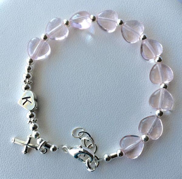 Sterling Silver Rosaline Heart Rosary Bracelet, Confirmation Chaplet Bracelet, First Communion Rosary Bracelet, Chaplet Bracelet